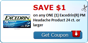 Save $1.00 on any ONE (1) Excedrin(R) PM Headache Product 24 ct. or larger