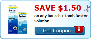 Save $1.50 on any Bausch + Lomb Boston Solution