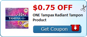 $0.75 off ONE Tampax Radiant Tampon Product