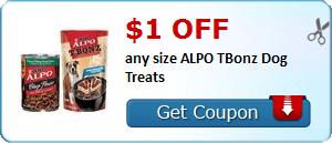 $1.00 off any size ALPO TBonz Dog Treats