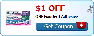 $1.00 off ONE Fixodent Adhesive