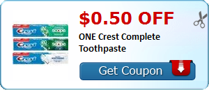 $0.50 off ONE Crest Complete Toothpaste