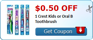 $0.50 off 1 Crest Kids or Oral B Toothbrush