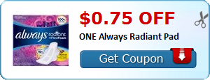 $0.75 off ONE Always Radiant Pad
