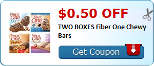 $0.50 off TWO BOXES Fiber One Chewy Bars