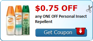 $0.75 off any ONE OFF Personal Insect Repellent