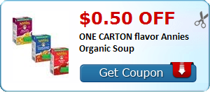 $0.50 off ONE CARTON flavor Annies Organic Soup