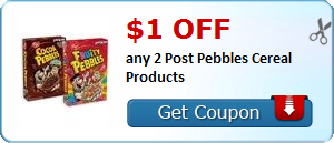 $1.00 off any 2 Post Pebbles Cereal Products
