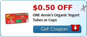 $0.50 off ONE Annie's Organic Yogurt Tubes or Cups