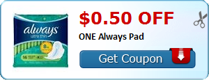 $0.50 off ONE Always Pad