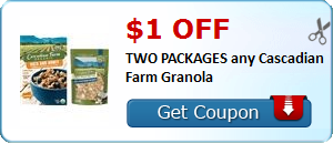 $1.00 off TWO PACKAGES any Cascadian Farm Granola