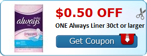 $0.50 off ONE Always Liner 30ct or larger