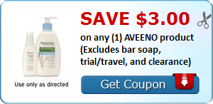 Save $  3.00 on any (1) AVEENO product (Excludes bar soap, trial/travel, and clearance)