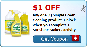 $1.00 off any one (1) Simple Green cleaning product. Unlock when you complete 2 Sunshine Makers activities.