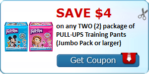 Save $4.00 on any TWO (2) package of PULL-UPS Training Pants (Jumbo Pack or larger)