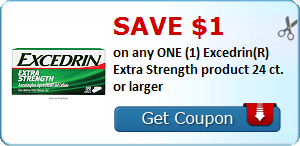 Save $1.00 on any ONE (1) Excedrin(R) Extra Strength product 24 ct. or larger
