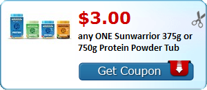 $3.00 any ONE Sunwarrior 375g or 750g Protein Powder Tub