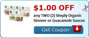 $1.00 OFF any TWO (2) Simply Organic Simmer or Guacamole Sauces