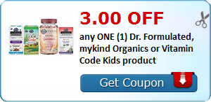 3.00 OFF any ONE (1) Dr. Formulated, mykind Organics or Vitamin Code Kids product