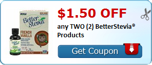 $1.50 OFF any TWO (2) BetterStevia® Products