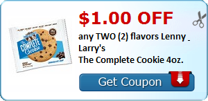 $1.00 OFF any TWO (2) flavors Lenny & Larry's The Complete Cookie 4oz.