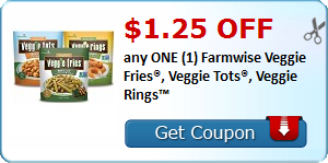 $1.25 OFF any ONE (1) Farmwise Veggie Fries®, Veggie Tots®, Veggie Rings™