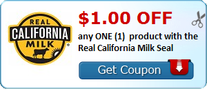 $1.00 OFF any ONE (1) product with the Real California Milk Seal