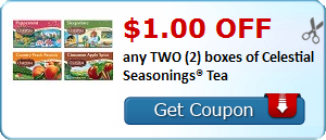 $1.00 OFF any TWO (2) boxes of Celestial Seasonings® Tea