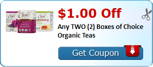 $1.00 Off Any TWO (2) Boxes of Choice Organic Teas