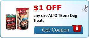 $1.00 off any size ALPO TBonz Dog Treats