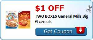 $1.00 off TWO BOXES General Mills Big G cereals