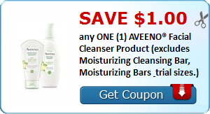 Save $1.00 any ONE (1) AVEENO® Facial Cleanser Product (excludes Moisturizing Cleansing Bar, Moisturizing Bars & trial sizes.)