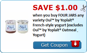 Save $1.00 when you buy FOUR JARS any variety Oui™ by Yoplait® French-style yogurt (excludes Oui™ by Yoplait® Oatmeal & Yogurt)