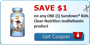 SAVE $1.00 on any ONE (1) Sundown® Kids Clean Nutrition multivitamin product