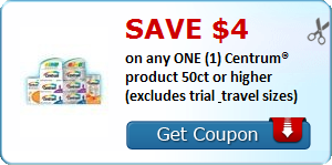 SAVE $4.00 on any ONE (1) Centrum® product 50ct or higher (excludes trial & travel sizes)
