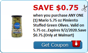 Save $0.75 when you purchase ANY ONE (1) Mario 5.75 oz Pimiento Stuffed Green Olives. Valid on 5.75 oz..Expires 9/2/2020.Save $0.75.(Only at Walmart)
