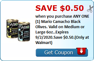 Save $0.50 when you purchase ANY ONE (1) Mario Camacho Black Olives. Valid on Medium or Large 6oz..Expires 9/2/2020.Save $0.50.(Only at Walmart)