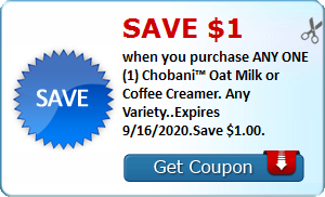 Save $1.00 when you purchase ANY ONE (1) Chobani™ Oat Milk or Coffee Creamer. Any Variety..Expires 9/16/2020.Save $1.00.