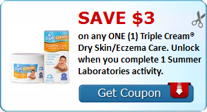 Save $3.00 on any ONE (1) Triple Cream® Dry Skin/Eczema Care. Unlock when you complete 1 Summer Laboratories activity.