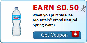 Earn $0.50 when you purchase Ice Mountain® Brand Natural Spring Water