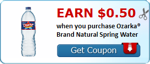 Earn $0.50 when you purchase Ozarka® Brand Natural Spring Water