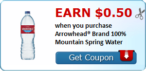 Earn $0.50 when you purchase Arrowhead® Brand 100% Mountain Spring Water
