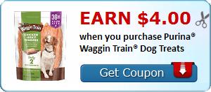 Earn $4.00 when you purchase Purina® Waggin Train® Dog Treats