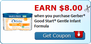 Earn $8.00 when you purchase Gerber® Good Start® Gentle Infant Formula