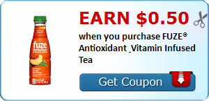 Earn $0.50 when you purchase FUZE® Antioxidant & Vitamin Infused Tea