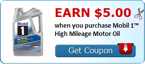 Earn $5.00 when you purchase Mobil 1™ High Mileage Motor Oil