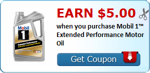 Earn $5.00 when you purchase Mobil 1™ Extended Performance Motor Oil