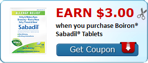 Earn $3.00 when you purchase Boiron® Sabadil® Tablets