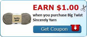 Earn $1.00 when you purchase Big Twist Sincerely Yarn