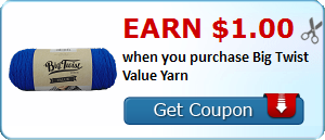 Earn $1.00 when you purchase Big Twist Value Yarn